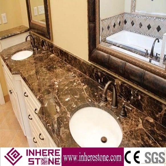 Dark Emparador Brown Marble Countertop Bath Tops