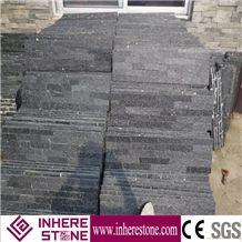 Natural Split Face Black Quartzite Cultured Stone for Wall Cladding, Black Culture Stone/Ledge Panel