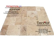 1,2cm Mix Travertine Tumbled Commercial Opus