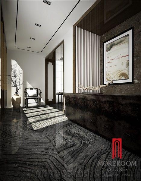 Antiquity Wood Grain Black Marble Tile Ceramic Floor Tile Porcelain