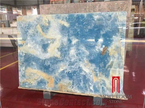 Polished Backlit Blue Onyx Stone Panel Slab Price From