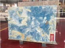Polished Backlit Blue Onyx Stone Panel Slab Price
