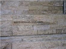 Gold Wooden Quartzite Cultured Stone, Golden Wood Vein Quartzite Nature Cultured Stone Panel, Split Face, Wall Panel, Ledge Stone, Veneer, Stacked Stone, Decorative Stone for Interior and Exterior