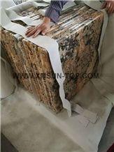 Golden Persa Granite Table Top/Amarelo Persa Reception Counter/Cream Persa Granite Reception Desk/Giallo Palmeiras Work Tops/Yellow Granite Desktop/Natural Stone Square Tabletops/Interior Decoration