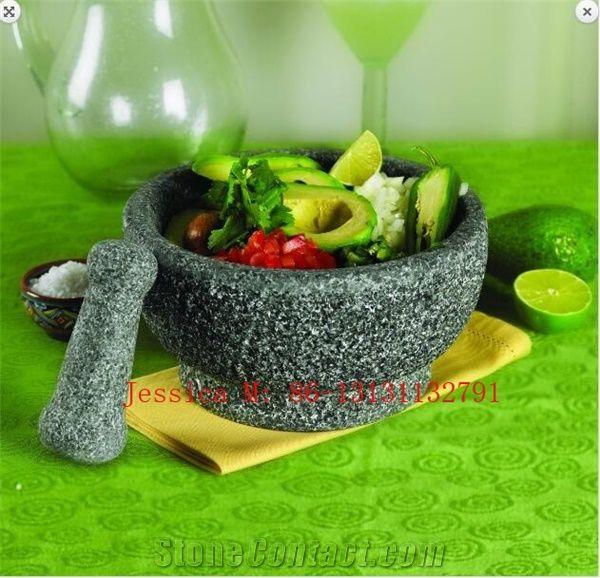 China Grey Granite Mortar Sold to Costco /Molcajete