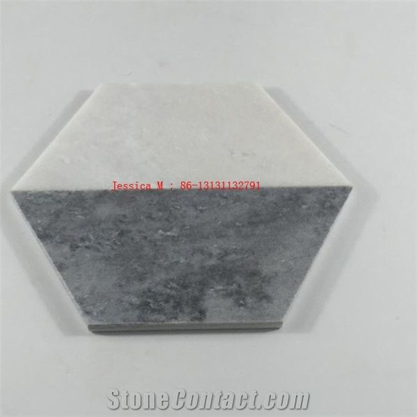 Hexagonal White And Grey Combined Marbles Coaster 2 Tone