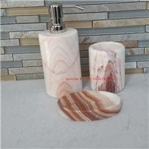 White with Pink Marble Bath Accessories