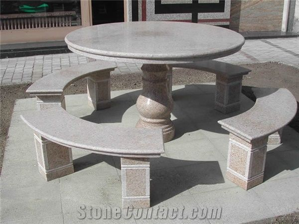 Natural Stone Granite Table Benches Garden Patio Table