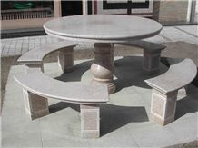Natural Stone Granite Table Benches Garden Patio Table Sets
