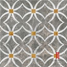 Artistic Inset Medallion Marble Natural Stone Waterjet Polished Floor Tiles