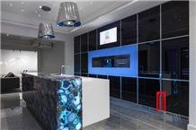 Natural Stone Slab Blue Agate Semiprecious Stone Kitchen Countertop Design for Sale