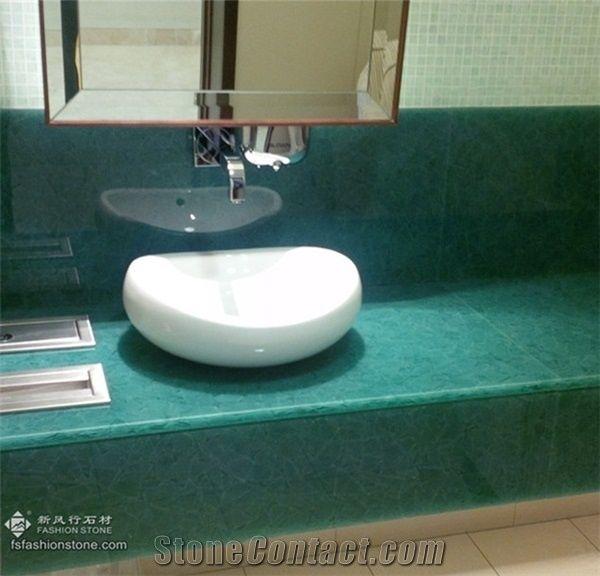 techno glassdecorative mixed green onyx laminated glass jade glass bathroom countertopsbathroom vanity tops - Laminate Bathroom Countertops