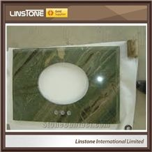 Popular Luxury Polished Irish Green Marble Bathroom Vanity Top