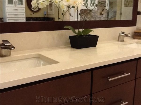 Beige Quartz Stone Artificial For Bathroom Countertop Vanity Tops With Heating And Scratch Resistance