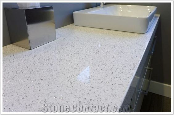 Contemporary Sparkling Glass White Quartz Countertop