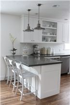 Grey Engineered Quartz Stone Countertop Island Tops Size 3200 X 1600 with High Strength and Hardness