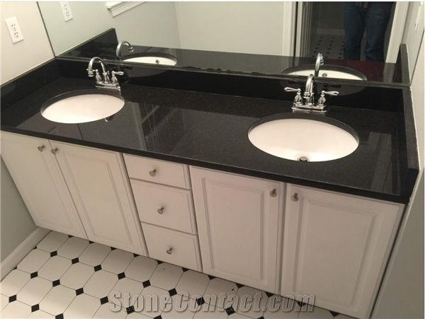 High Quality Black Engineered Quartz Stone For Bathroom Tops Vanity Tops Countertops Made From