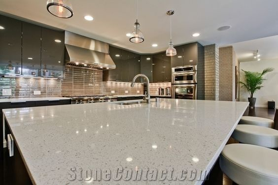 Iced White Sparkling Quartz Engineered Used In Kitchen Countertops