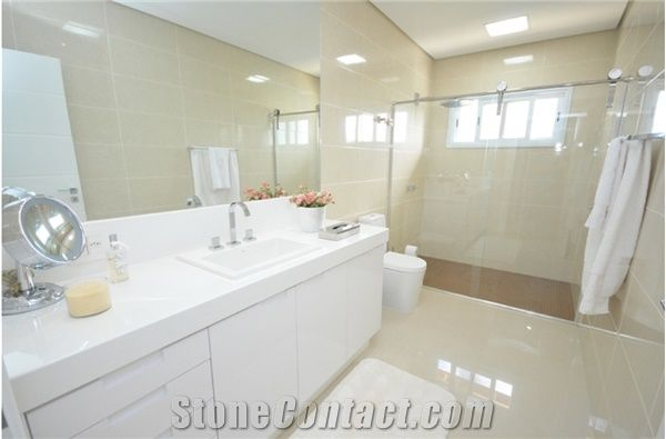 Pure White Artificial Quartz Bathroom Countertop Vanity
