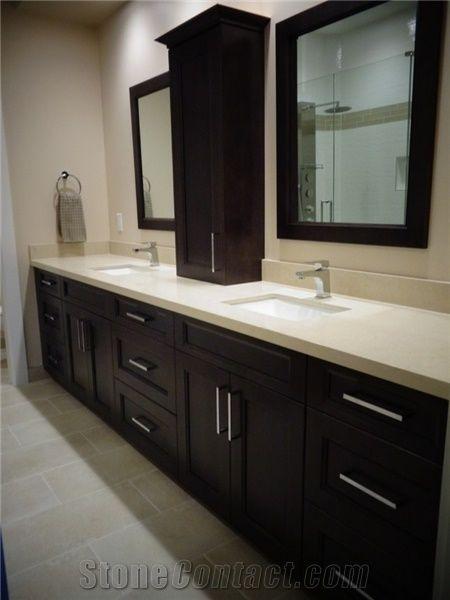 Snow White Quartz Stone Surfaces Bathroom Vanity Tops