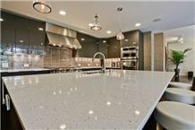 Sparkling Frost White Artificial Quartz Kitchen Surfaces Countertops Island Top Edge Custom Profiles Available
