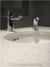 Sparkling Frost White Artificial Quartz Kitchen Surfaces Countertops
