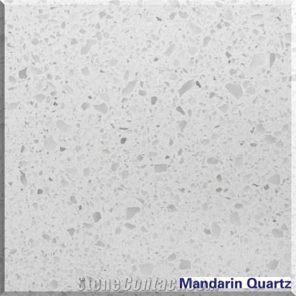 Sparkling Frost White Artificial Quartz Stone For Kitchen Application