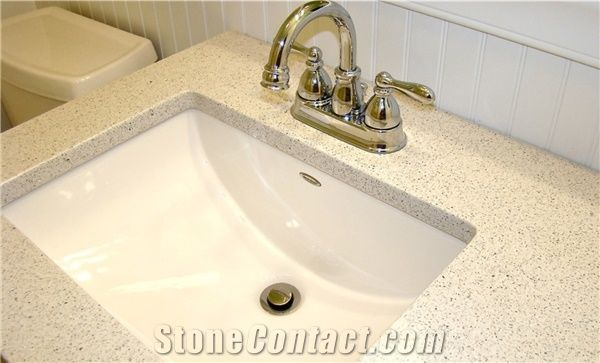 Stellar Sparkle White Artificial Quartz Bathroom Surfaces Vanity Tops Countertops In Custom Sizes Available