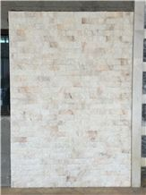 Natural White Pink Brick Marble Stone Split Wall Tiles