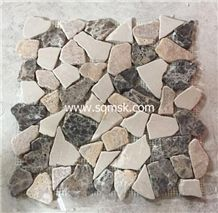 Dark Emperador stone mosaic tile Mix Red Wooden Vein, Grain,Beige Botticino,Royal Botticino,Tumble Irregualr Crazy Series Shap Marble Mosaic for Wall,Floor,Bathroom,Hotel,Interior Decoration
