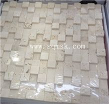 Light Travertine,Ivory Travertine,Roma Travertine Swan High and Low 20*20mm Marble Mosaic for Wall,Background,Interior,Bathroom Decoration