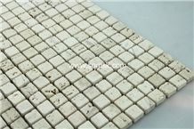 Light Travertine Mosaic,Stone Mosaic Tile,Ivory Travertine,Ivory Cream Travertine,Ivory Travertine,Ivory Travertine Tumbled 15x15mm Marble Mosaic for Wall,Floor,Decoration,Interior,Bathroom,Hotel