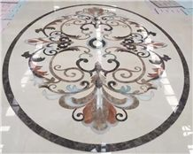 Waterjet Medallion,Ruschita Creme Rosa China Pink Marble Paver with Waterjet Cut Inlaid L,For Home Decoration Ivory Pink and White Marble Inlayed Medallion