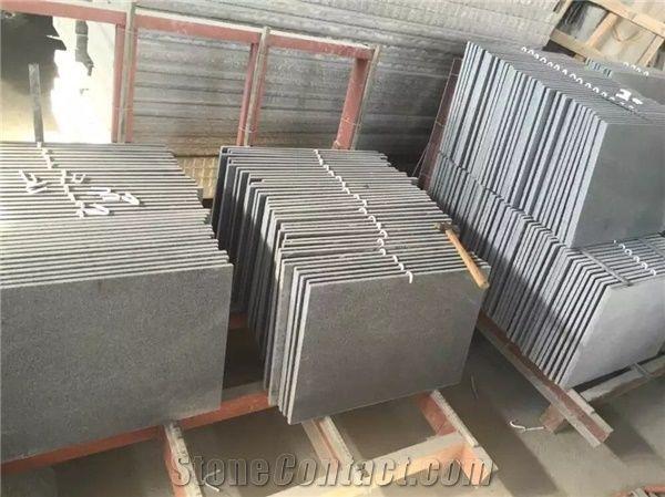 1 2cm G654 Honed Granite Slabs Padang Dark Floor Covering Impala Black Tiles Sesame