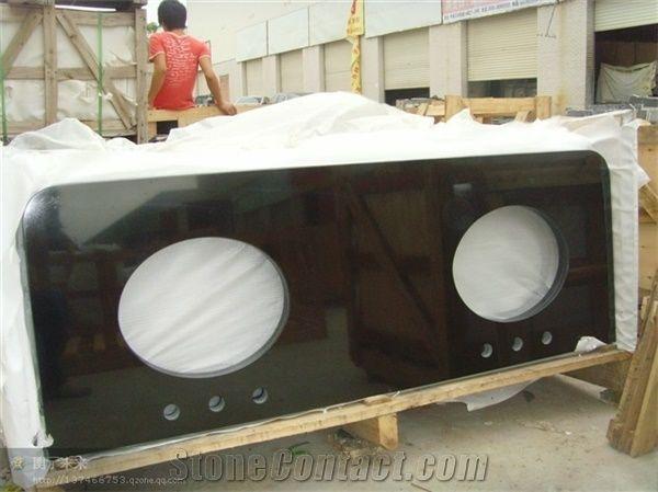 Mongolia Black Granite Bath Countertops Polished China