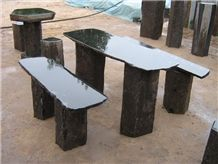 Black Basalt Garden Stone Bench , Table and Chairs