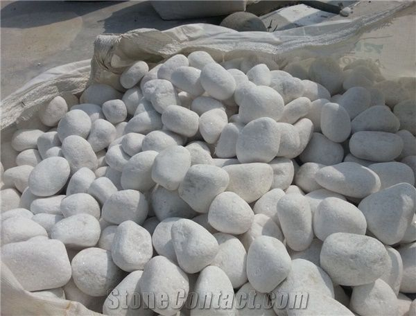 Hot Sale Tumbled Snow White Pebble Stone for Landscaping and Decoration,  Snow White Mechaism Stone Pebble - Hot Sale Tumbled Snow White Pebble Stone For Landscaping And