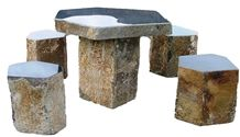 Mongolia Black Basalt Stone Bench and Chair in Garden and Landscaping