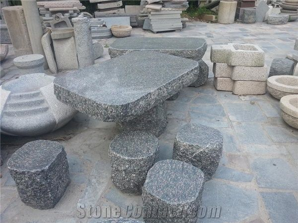 Natural Stone Garden Table And Benches In Landscaping ,Polished Stone  Garden Bench