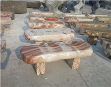 Outdoor Marble Polished Stone Bench and Table