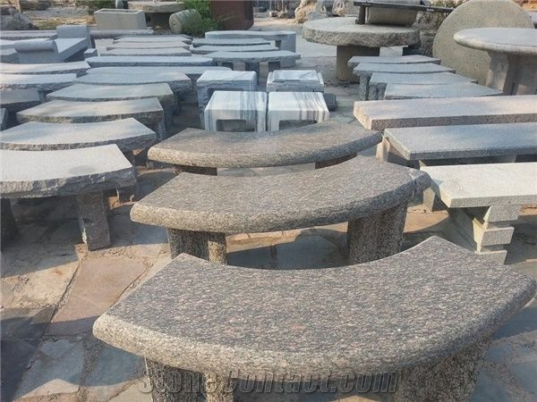 Polished Stone Garden Bench ,Grey Granite Outdoor Bench For Decoration  ,Curved Stone Bench
