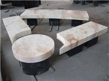 Polished Stone Marble Bench and Tables in Garden