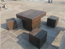Sandstone Honed Garden Bench and Table