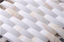 Golden Spider White Marble Basketweave Mosaic