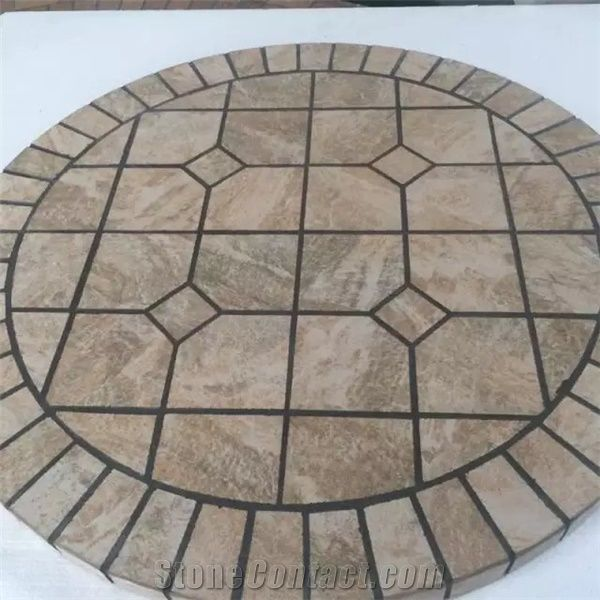 Stone Table Duquesa Scura Brown Marble, Mosaic Tile Round Table Top