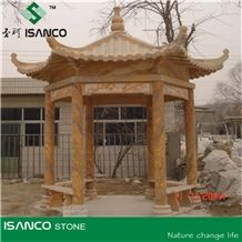 Hand Carved Marble Gazebo for Garden, Royal Wood Grain Marble Pavilions