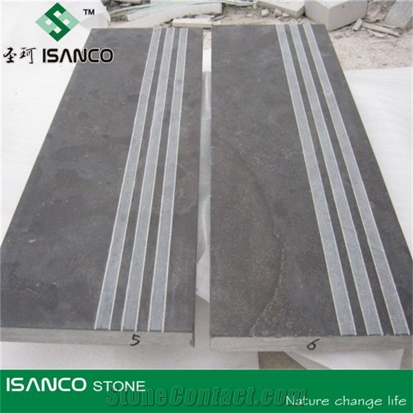 Limestone Step, Honed Exterior Step, China Blue Limestone Steps, Honed Blue Limestone  Stair Treads,Half Or 1/4 Bullnose Blue Limestone Staircase With Sawn ...