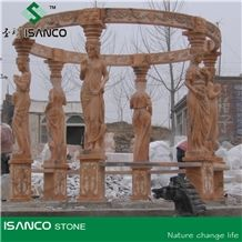 Polished Gold Plank Marble Gazebo,Own Factory Porches,High Quality Pavilions,Garden Gazebo with Iron Top,Western Style Gazebo, Brown Marble Carved Gazebo,Sculptured Garden Gazebo, Landscaping Stones