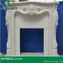 Polished White Marble Fireplace Mantel/Hearth/Design/Surround, Volakas Fireplace, British Style Fireplace, White Marble Fireplace Mantel Handcarved Flower Sculptured Fireplace