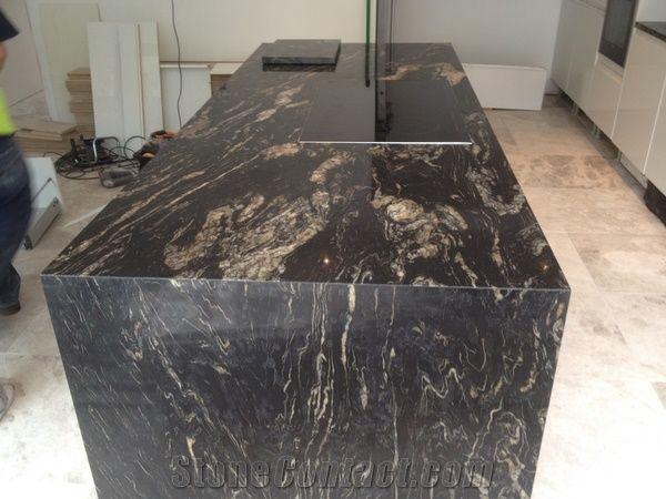 Black Cosmic Granite Kitchen Island Top From United Kingdom Stonecontact Com
